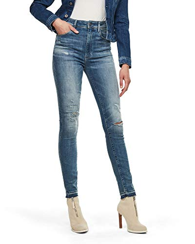 G-STAR RAW Women's Kafey Ultra High Skinny Ripped Edge Ankle Jeans - Blue - W32