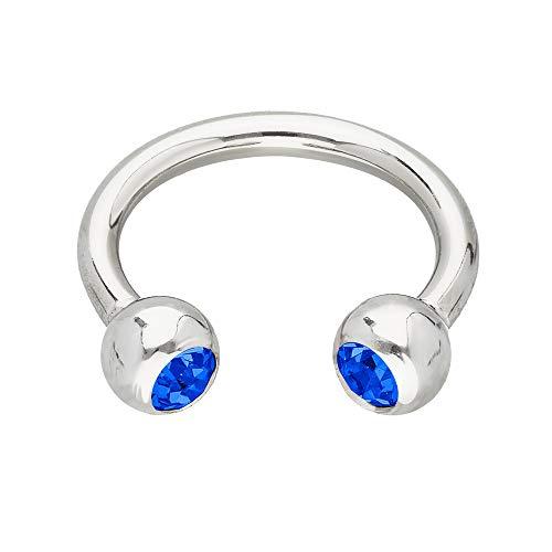 Treuheld® | Silbernes Hufeisen Piercing Ring mit Kristallen - [124.] 1.6 x 8 mm (Kugeln: 4mm) - blau