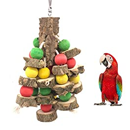 GUALA Parrot Chewing Toy Natural Wooden Hanging Cage Toys Bird Teeth Care Toys Parakeet cage Hammock Hanging Toy 2 Styles- Cotton Rope and Steel Wire