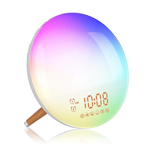 Lichtwecker ZeaLife Wake Up Licht Wecker mit Radio und 2 Alarme, Tageslichtwecker Sonnenauf- und untergangssimulation Wecker mit 7 Farben Nachtlicht & Natürlichen Wecktöne 20 Helligkeit