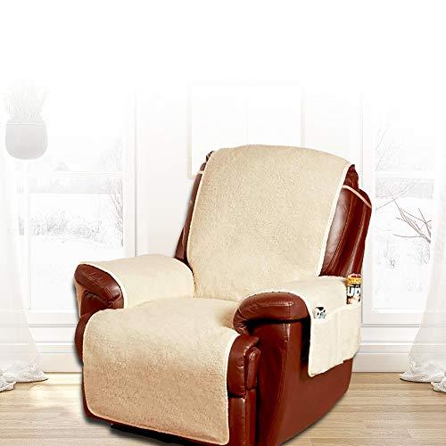 JTWEB Sesselschoner Relaxsessel Sesselschoner Relax,1 Sitzer Sesselschutz Sofaüberwurf mit Taschen und Befestigung Sesselauflage,Sessel- Überwurf
