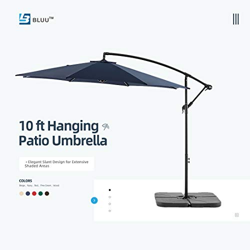 WUFF Bluu 10ft Patio Offset Umbrella Cantilever Umbrella Hanging Market Umbrella Outdoor Umbrellas...