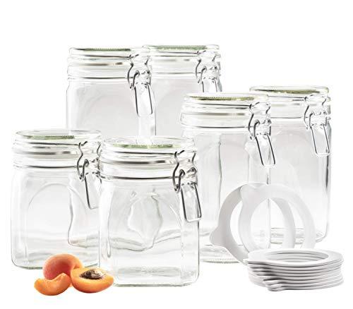 MÄSER 931539 Gothika, Einmachgläser 6er-Set 0,75-1,45 Liter, made in Germany, inkl. 10 Ersatz-Dichtringe, Vorratsgläser mit Deckel und Drahtbügel, Glas, transparent