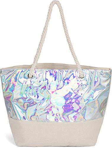 styleBREAKER Damen XXL Strandtasche in Metallic Optik mit Reißverschluss, Schultertasche, Shopper 02012279, Farbe:Silber Metallic