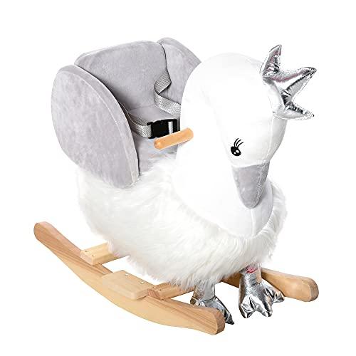 homcom Dondolo Giocattolo a Forma di Cigno Bianco e Grigio per Bambini 18-36 Mesi (Max 40kg), Legno di Pioppo e Peluche