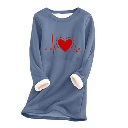 Kobay-Damen Herbst Winter Hochwertig Komfortabel Hautfreundlich Im Dickes Fleece Sweatshirt Winter Samt Warme O-Ausschnitt Unterwäsche Tops