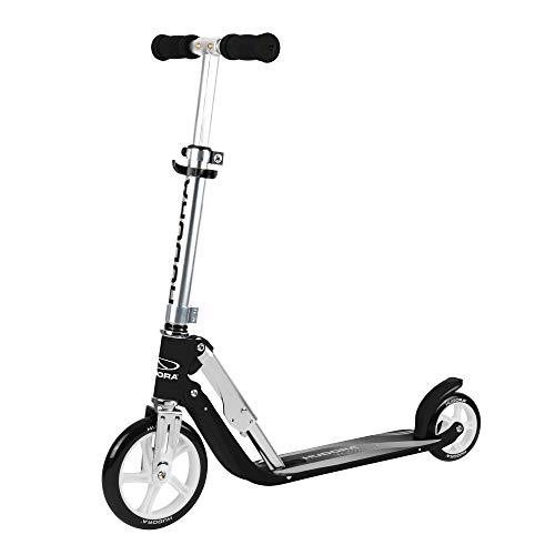 HUDORA Little Big Wheel, schwarz - Scooter Roller Kinder - Verstellbare Lenkerhöhe von 68 bis 74 cm