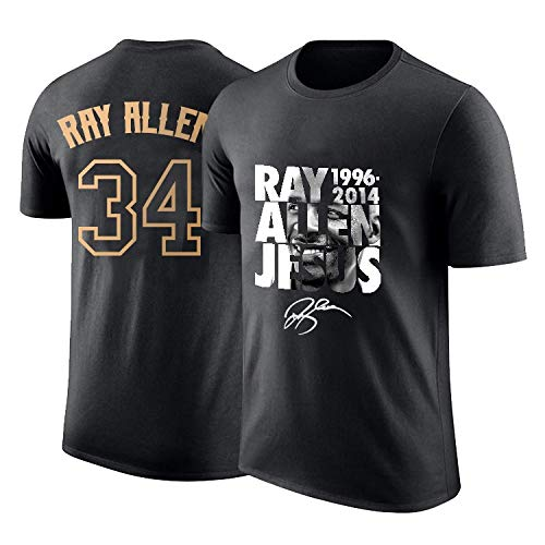 CIGONG T-Shirt Men's Supersonic Ray Allen Retired Commemorative Half Sleeves 34th Jersey Printed Cotton Sports Basketball Short Sleeve Basketball Cotton T-Shirt (Size : XS)