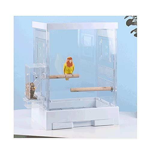 ZANZAN Gabbie per Uccelli Decorative Gabbia di Uccello Acrilico Trasparente con Ciotole di Alimentazione rotolante, Gabbia di Volo per Uccello con Vassoio Estraibile, per Viaggio casa- Nero/Bianco