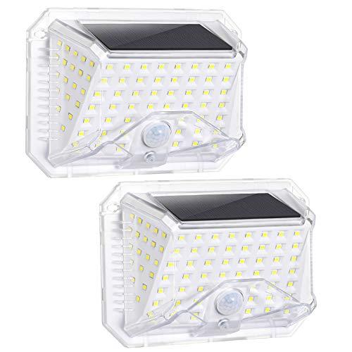 LED Solarleuchte für Außen, Oeegoo 2 Stück Solarlampe mit Bewegungssensor, 180°LED Sicherheitsleuchte, IP65 Wasserdichte LED Solar Aussenleuchte, 3 Modi Wandleuchte mit Sensor für den Garten Garage