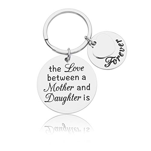 Mother Daughter Keychain Gifts Mom Birthday Mother's Day Gift from Daughter in Law the Love Between a Mother and Daughter is Forever Wedding Jewelry Heart Pendant for Her Women