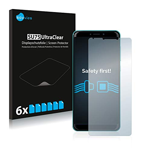 Savvies 6X Schutzfolie kompatibel mit Wiko Harry 2 Bildschirmschutz-Folie Ultra-transparent