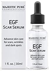 Majestic Pure EGF Scar Serum; made in USA Helps reduce the appearances of acne scars, pimple scars, wrinkles, after surgery marks and dark spots Carefully crafted with wonderful ingredients such as EGF, Witch Hazel, Lavender Oil, and Frankincense Oil...