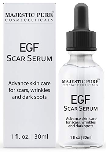 MAJESTIC PURE EGF Scar Serum for Face - Reduce Appearance of Acne Scars, Marks, Wrinkles, and Dark Spots - Helps with Old Scar Removal - 30ml