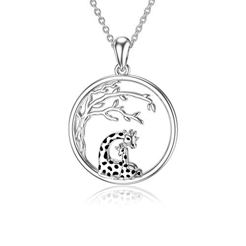 Mother Daughter Couple Giraffe Necklace with Tree 925 Sterling Silver Pendant Cute Animal Jewellery Birthday Gift for Women