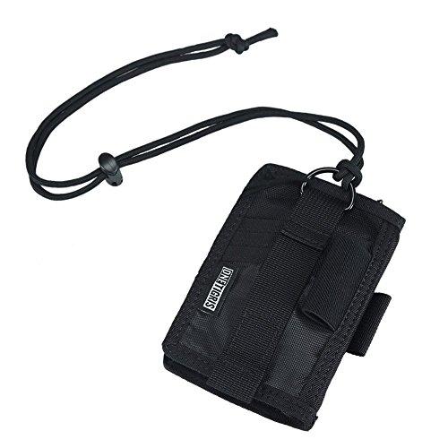 OneTigris Taktische Portmonee Nylon Ausweishalter mit Umhängeband (Schwarz)