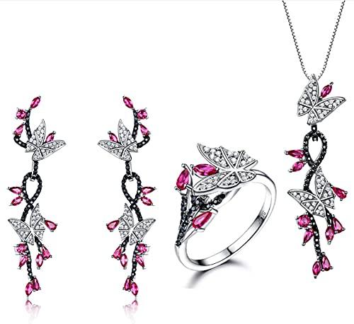 CHXISHOP Conjunto de joyería de las mujeres 925 plata esterlina mariposa cristal piedra rubí romántico pendientes anillo collar tres piezas joyería rosa- 6 #