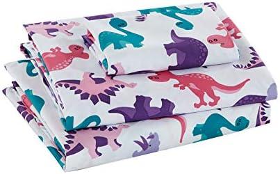 Parure de draps Dinosaure Land Rose pour filles et enfants Violet Turquoise Rose Dinosaures Imprimé Nouveau # Dinosaure Land Rose (Queen Sheet)