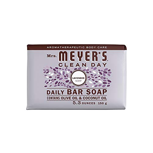 Mrs. Meyer's Clean Day Bar Soap, Use as Body Wash or Hand Soap, Cruelty Free Formula, Lavender Scent, 5.3 oz