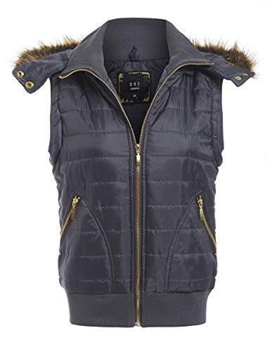 SS7 New Women's Faux Fur Bodywarmer Gilet, Grijs, Zwart, Maat 8-14