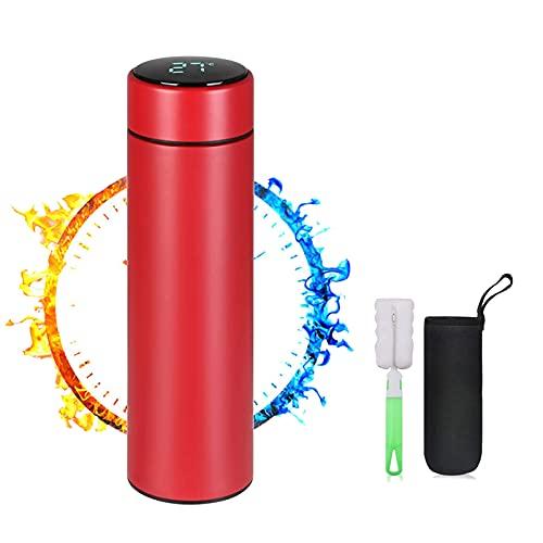 TMG Travel Mug,Termo Taza 500ML,Taza de Viaje,Térmica de Doble Pared,Frasco de Vacío de Acero Inoxidable,Pantalla LED Táctil Inteligente con Temperatura,rojo(con Filtro, Pinceles y Conjuntos)