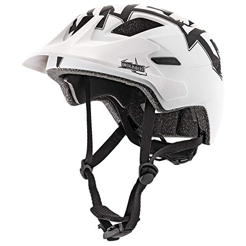 O'NEAL | Mountainbike-Helm | Kinder | Enduro All-Mountain | Innenfutter abnehmbar, Fidlock Magnetverschluss, Mesh-Gewebe | Rooky Youth Helmet STIXX | Schwarz Weiß | Größe XXS