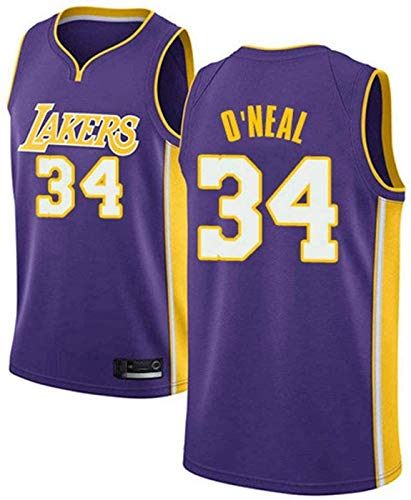 llp Jersey Men's Jersey Lakers NBA # 34 O'Neal Basketball Jerseys Unisex Chalecos Casuales Deportes Sin Mangas Camisetas (Color : B, Size : X-Large)