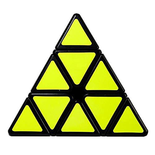 OJIN MO Fang GE Qiming A Pyraminx Cube MoFangGe Pirámide Triángulo de Cuatro Ejes Tetraedro Velocidad Puzzle Cubo Suave torneado Cube Juguete (Negro)
