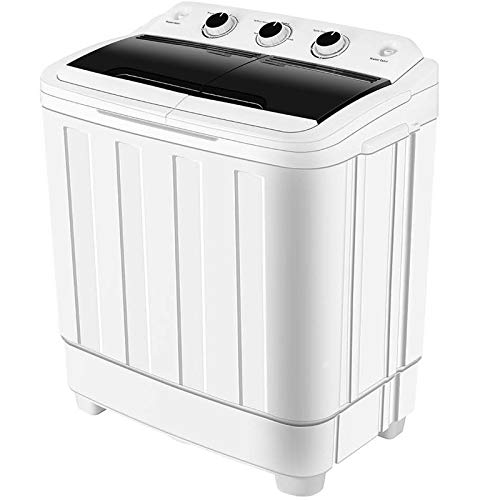 HOMHUM Compact Small Twin Tub Washing Machine Portable w/Wash and Spin Cycle, 16 lbs 2IN1 Washer Spin Dehydrator Ideal for Dorms, Apartments, RVs, Camping etc, Black/White