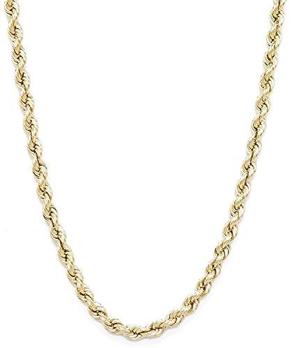 Collana a catena in oro giallo 585, 14 carati, unisex, larghezza 3,80 mm, lunghezza a scelta e Oro giallo, colore: oro giallo, cod. corda-14-0.70