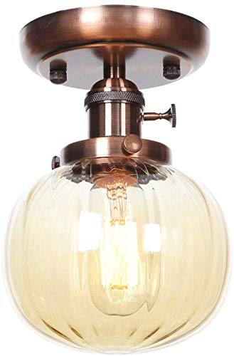 LOFT Retro Gestreepte Glas Bal Lampenkap Plafond Lamp Semi Flush Mount Plafond Licht Fixture LED E27 Enkele Hoofd Plafond Lichten voor Badkamer Porch Keuken Woonkamer Eetkamer (Kleur : Zwart)