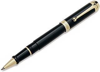 Aurora Talentum Black w/ Gold Trim Rollerball Pen - AU-D72N