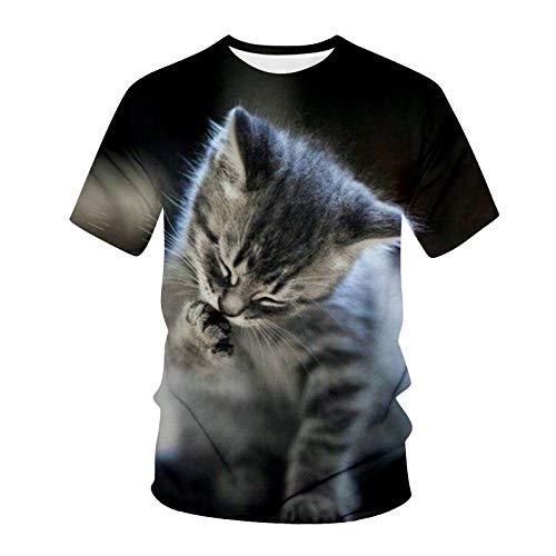 T-Shirt Top Männer Frühling Sommer Lässig Schlanke 3D-gedruckte Kurzarmbluse (S,8Mehrfarbig)