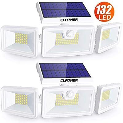 Claoner Solar Flood Lights, 132 LED Solar Motion Sensor Lights Outdoor 3 Adjustable Heads Solar Lights Outdoor IP65 Waterproof Solar Security Lights for Backyard Garage Driveway Porch Patio, 2 Pack