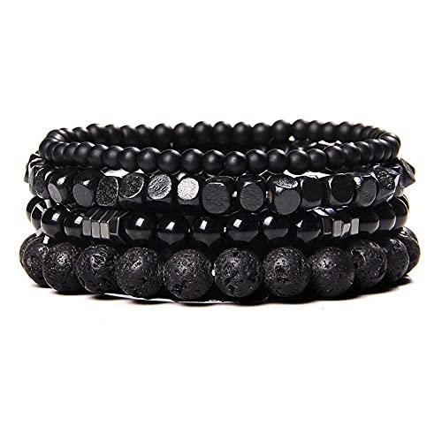 Hombres Pulseras Set Vintage Energy Black Onyx Agat Piedra Camas Brazaletes Stretch Jewelry Classic Hecho A Mano Hoamtite Pulseras-B