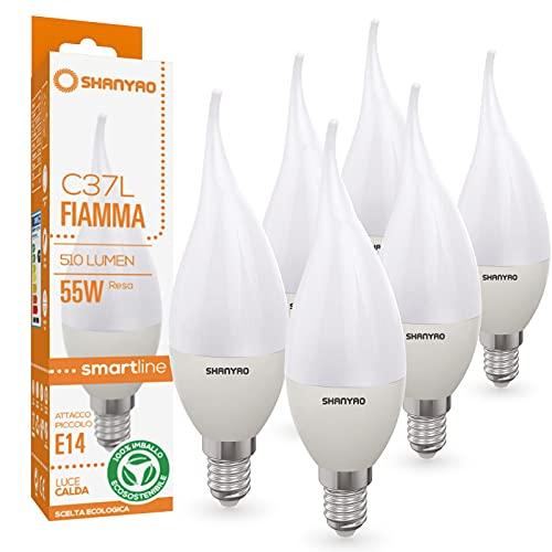 Shanyao - lampadine Colpo di vento LED 55W C37F serie SmartLine E14 6W 510lm 15000 ore angolo luce 240° gradi Essential (6, Bianco Caldo)