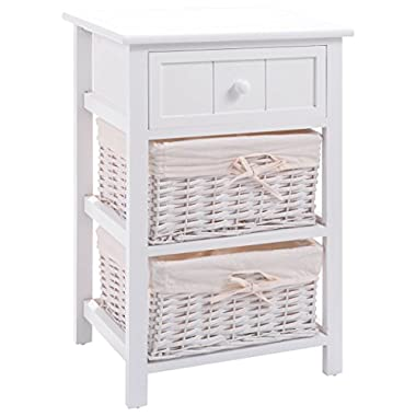 Giantex White Wood Night Stand w/Storage Drawer, 2 Baskets and Open Shelf for Bedroom, Bedside End Tableedroom Wood W/2 Basket (1)