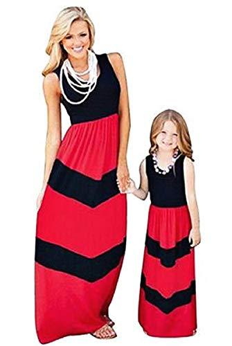 Ropa a Juego de Madre e Hija - Vestido Largo - Cuello Redondo - sin Mangas - Color Rojo y Negro - Madre - Talla XXL - Ropa de Mujer