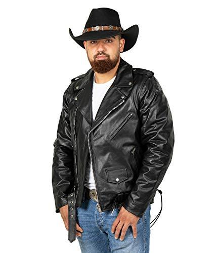 Buffalo Leder-Bikerjacke - Motorradjacke aus Buffelleder Lederjacke Herren Lederjacke wie beim Terminator (4XL)