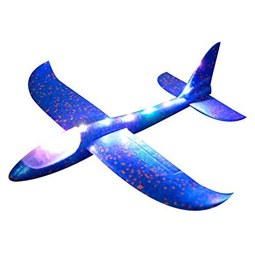 Aviones de espuma para niños, 48 cm, avión de lanzamiento de mano de EVA con 3 modos de luz LED, azul