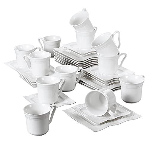 MALACASA, Serie Mario, 36 TLG. Set Cremeweiß Porzellan Kaffeeservice Geschirrset 12 Stück Kuchenteller, 12 Stück 220ml Kaffeetasse mit 12 Stück Untertasse für 12 Personen