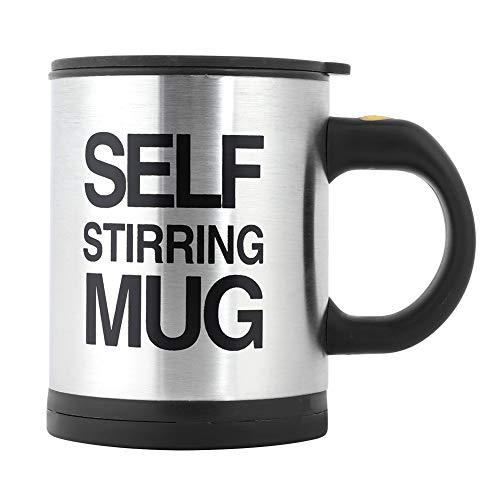 Fdit Electric Coffee roerbeker Mixing Cup RVS thee auto roerbeker met deksel MEHRWEG Verpakking: socialme-eu(zwart)