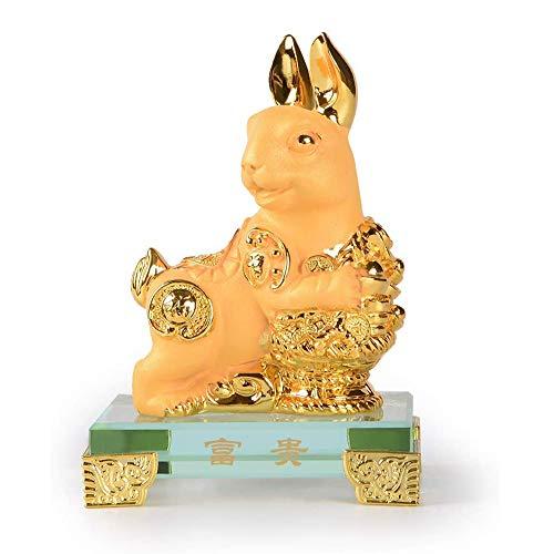 NINI Escultura de Arte Chino, Resina Dorada, Estatua de Conejo del zodíaco Chino, Feng Shui, Oficina en casa, decoración de la Mesa, colección de Regalos