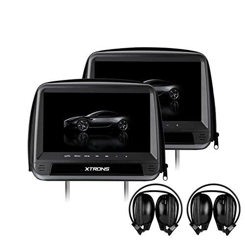 XTRONS 2x9 pollice HD Touch Sedile Posteriore Lettore DVD Poggiatesta Monitor con Cerniera Copertura In Pelle