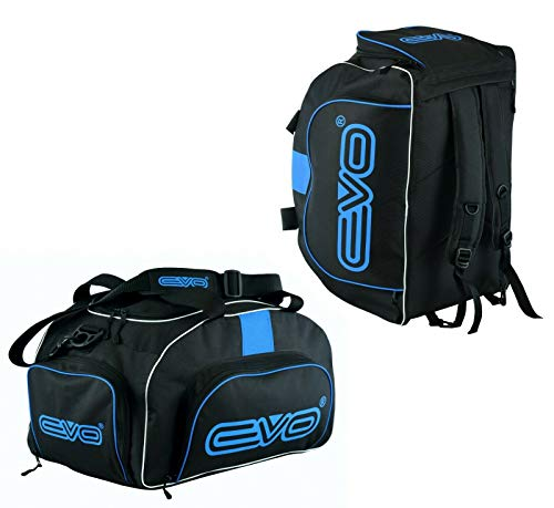 EVO Fitness Duffle Bag With Shoes Compartment Gym Sports Kit Backpack Football Travel Duffel Bag With Shoulder Straps Training MMA Boxing Men Women (Black/Blue)