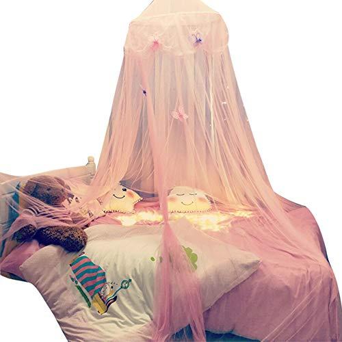 Jiacheng29_ Baldachim do łóżeczka dziecięcego, gwiazda motyl tiul łóżko dziecięce kopuła baldachim zasłona wisząca moskitiera namiot różowy + motyl jeden rozmiar
