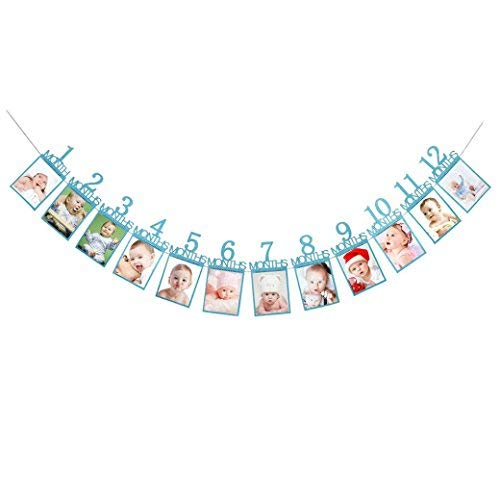 1-12 Month Photo Banner Monthly Photo Wall Kids Birthday Gift Decorations (Blue)