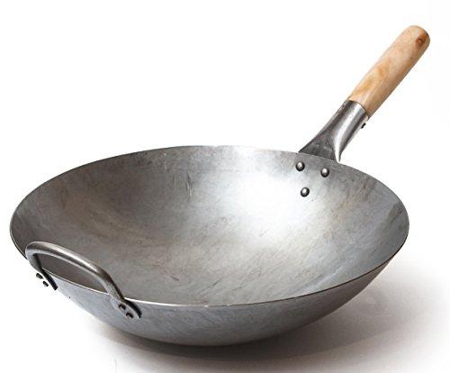 Craft Wok Wok Traditionnel en Acier Carbone martelé à la Main avec poignée auxiliaire en Bois et Acier (diamètre 35,6 cm, Fond Rond)/731W88