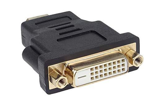 PremiumCord 4K HDMI auf DVI Adapter, vergoldete Anschlüsse, HDMI Stecker Typ A auf DVI-D Buchse (24+1) - für 4K UHD 2160p, Full HD 1080p, 3D, Farbe schwarz
