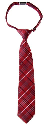 Retreez Tartan Plaid Styles Woven Microfiber Pre-tied Boy's Tie - Burgundy - 24 months - 4 years